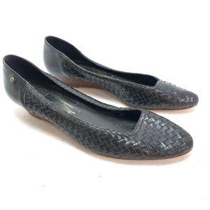 ETIENNE AIGNER Vintage Woven Black Leather Shoes 8